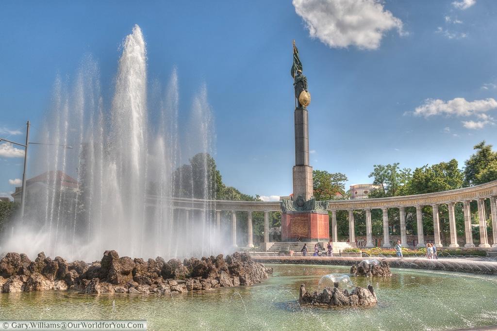 The Soviet Monument & high jet fountain in Vienna, Austria