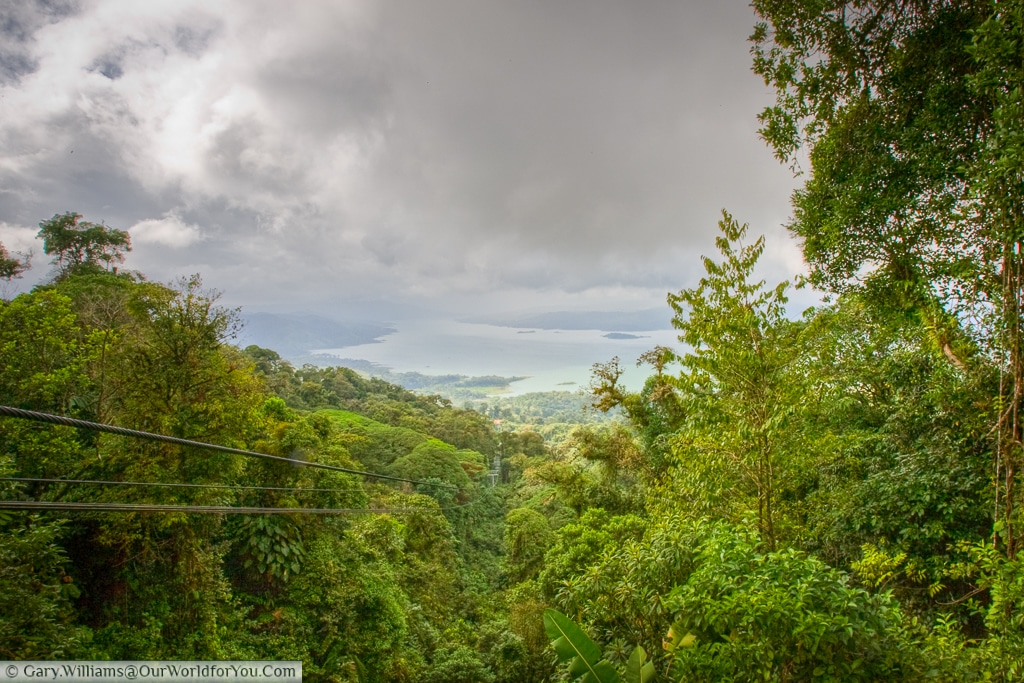 The cable car line back to base at Sky Tram. You can see Lake Arenal in the distance.