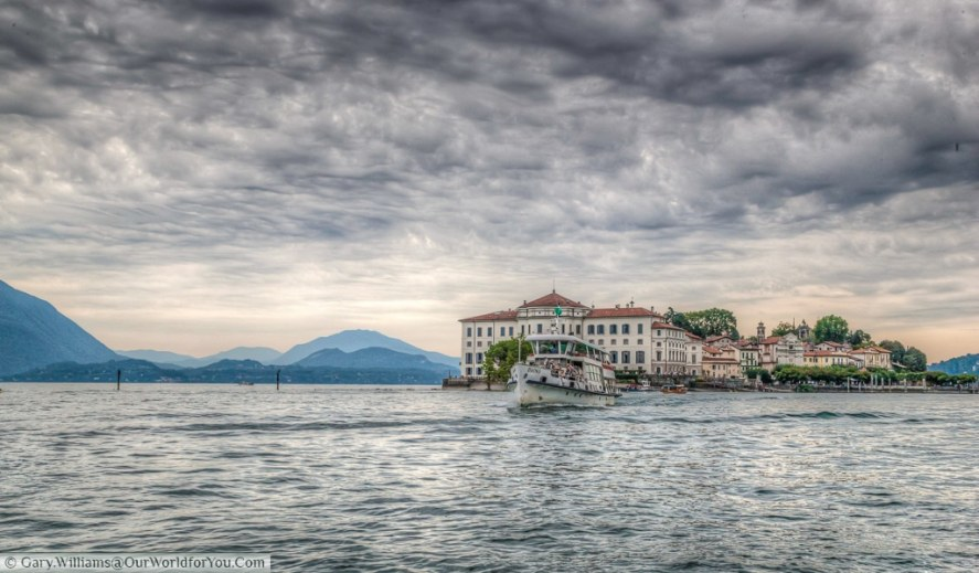 The ferry leaving Isola Bella, part of the Borromean Islands on Lake Maggiore, Italy