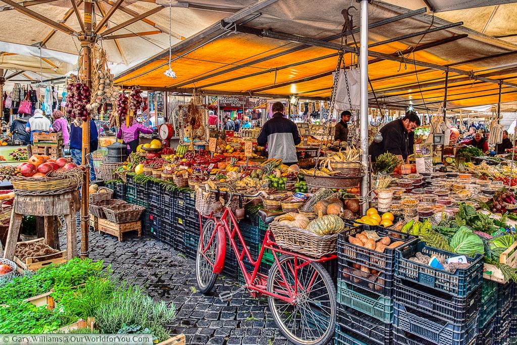 The food market in Piazza Campo de' Fiori, Rome, Italy