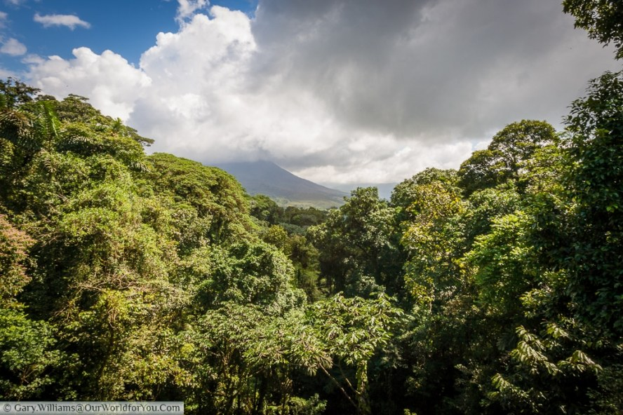 The view of the volcano from one of the many crossings at the Mistico Arenal Hanging Bridges Park.