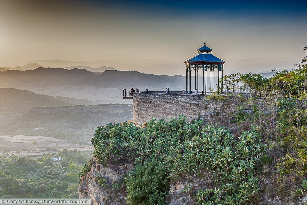 The Mirador de Ronda offers spectaular views from Ronda, Spain