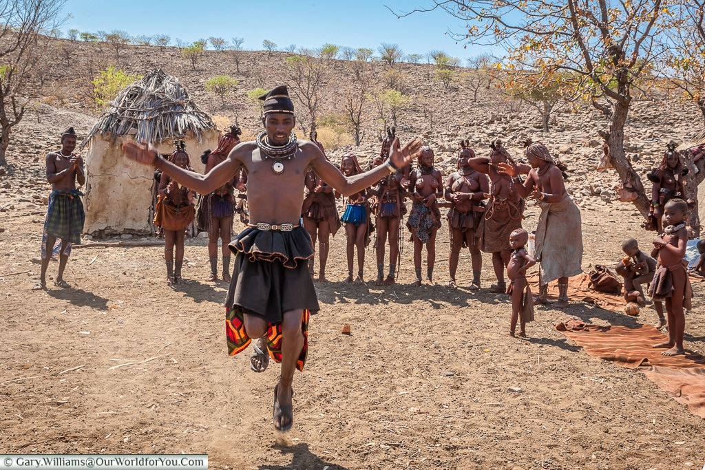 A tribal dance of the Himba, Damaraland, Namibia