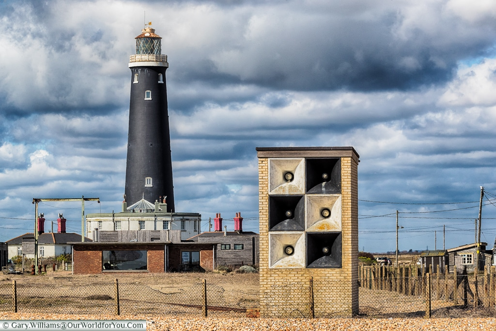 The High Light Tower and the base of the fourth lighthouse, Dungeness, Kent, UK