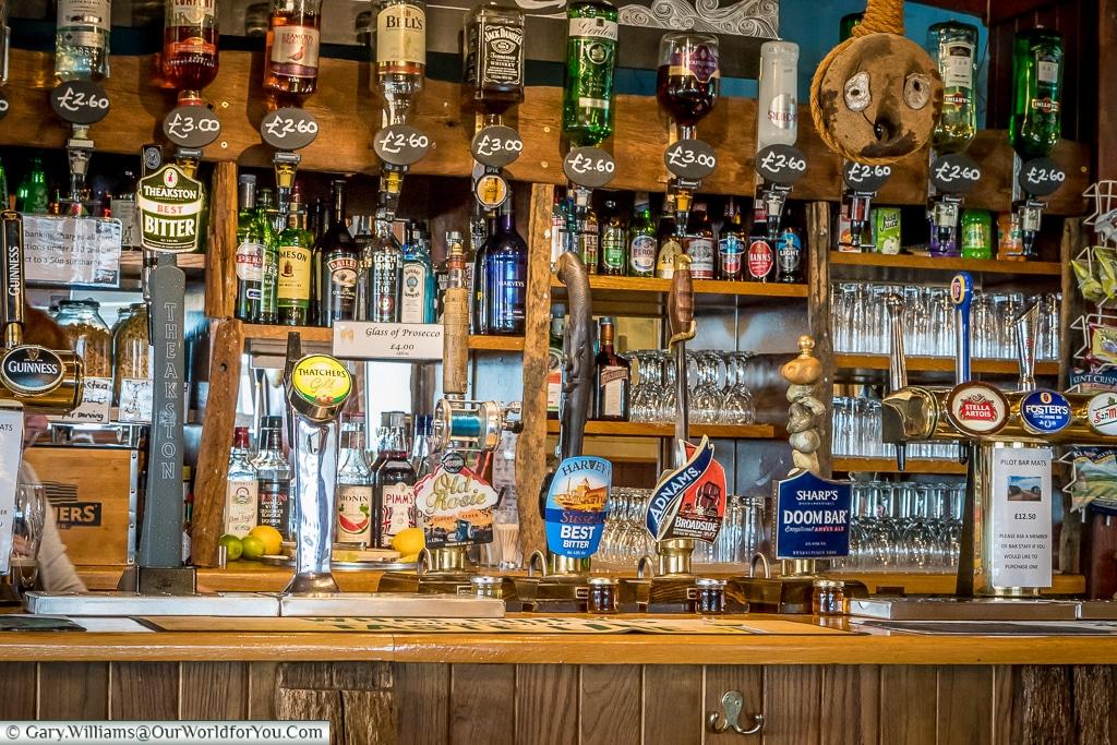 The bar of the Pilot Inn Dungeness, Kent, UK