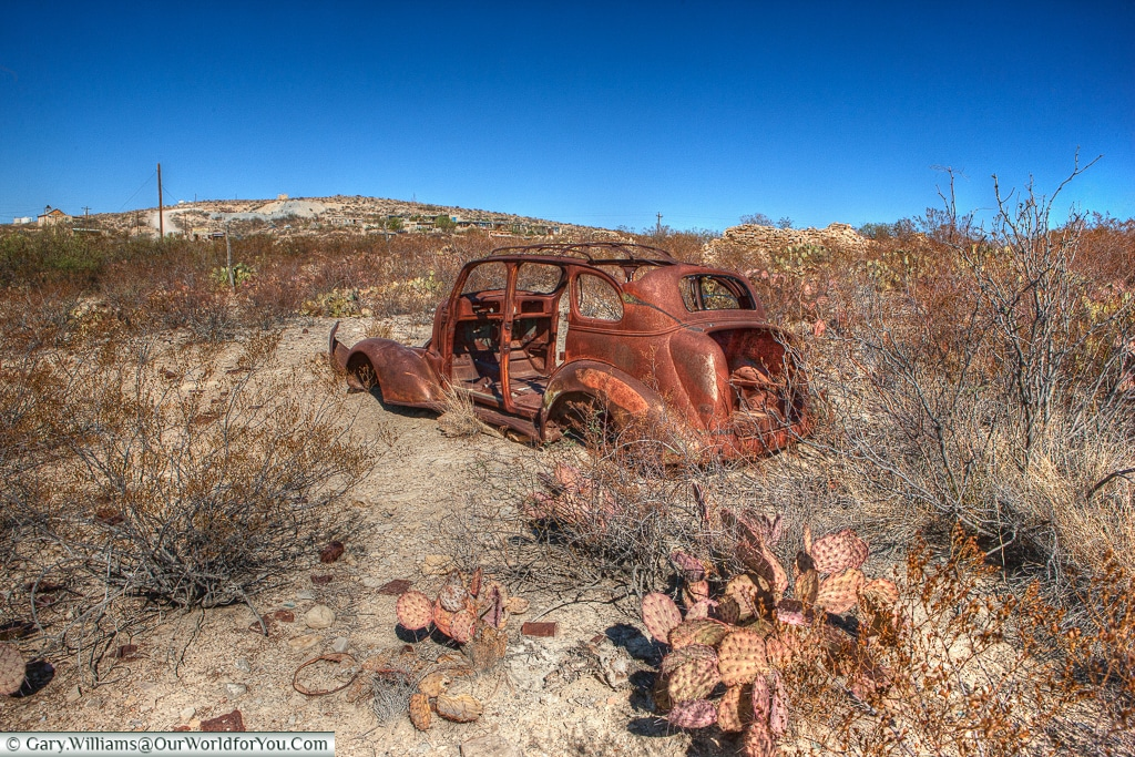 An abandoned car in the Terlingua Ghost Town, Texas, USA