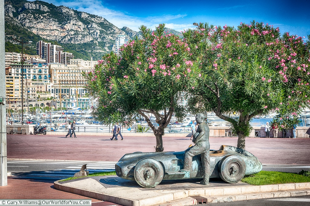 This statue to Jaun Manuel Fangio stands next to the last corner of the Monaco circuit