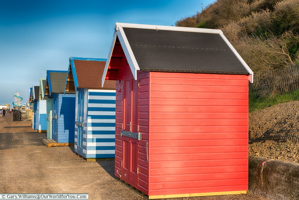 The brightly coloured beach huts, Cromer, Norfolk, England, UK