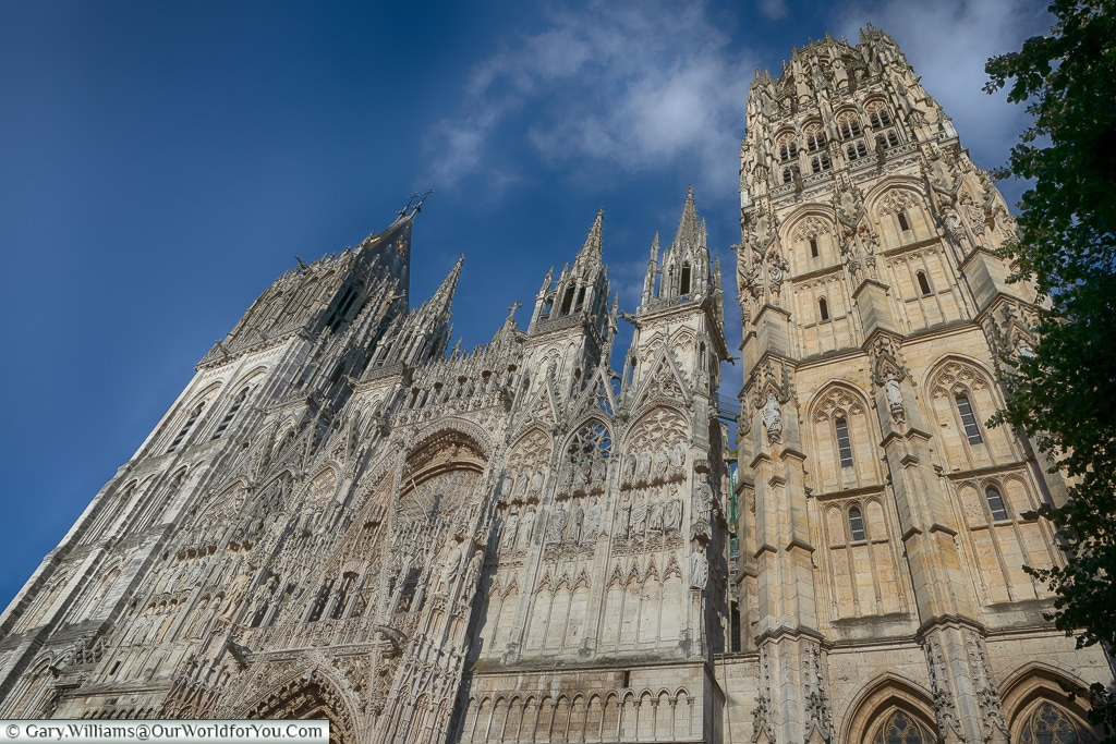 Looking up at Rouen Cathedral, Normandy, France