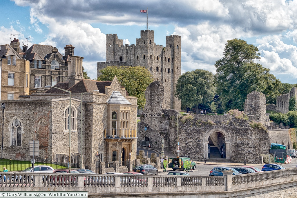 Rochester Castle from the river, Rochester, Kent, England, UK