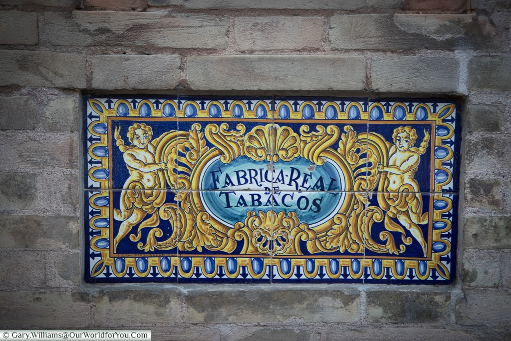 The tobaco factory sign, Seville, Andalusia, Spain