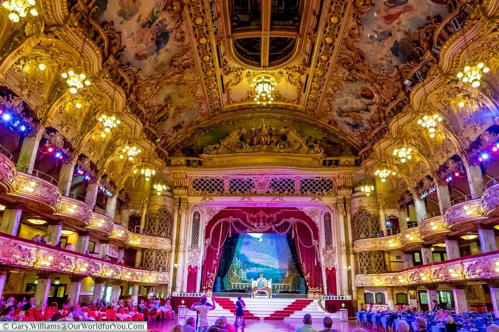 Inside the Tower Ballroom, Blackpool, Lancashire, England, UK