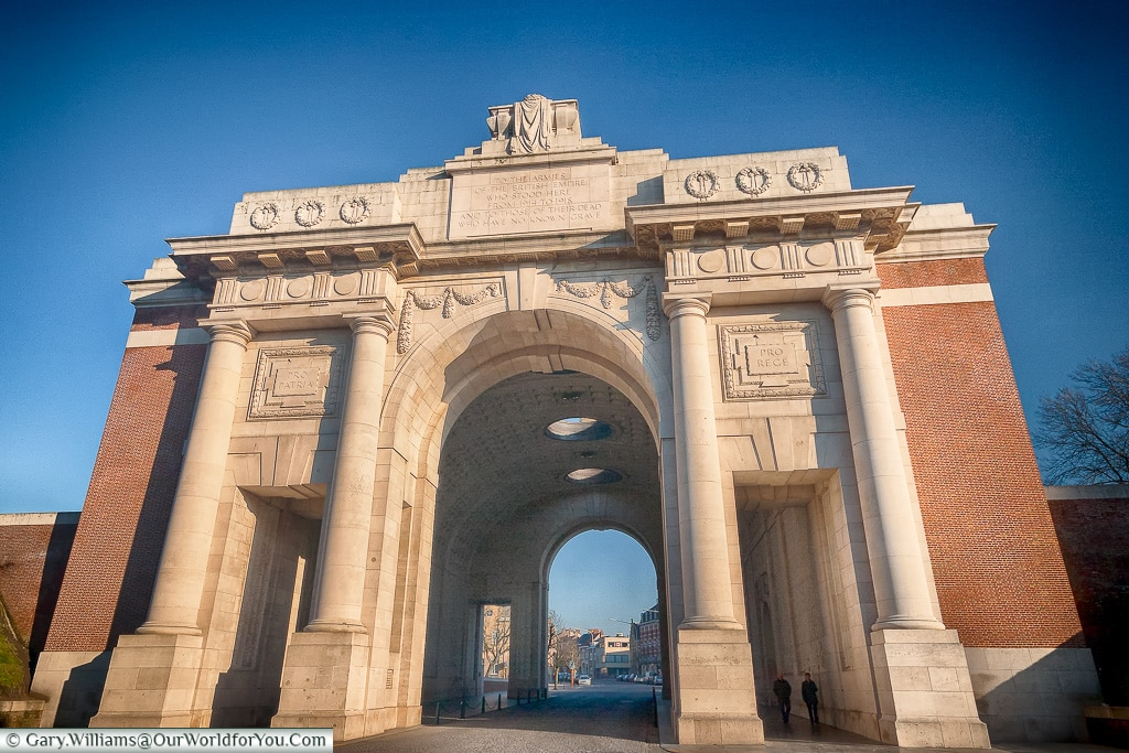 Looking through the Menin Gate, Ypres, Belgium