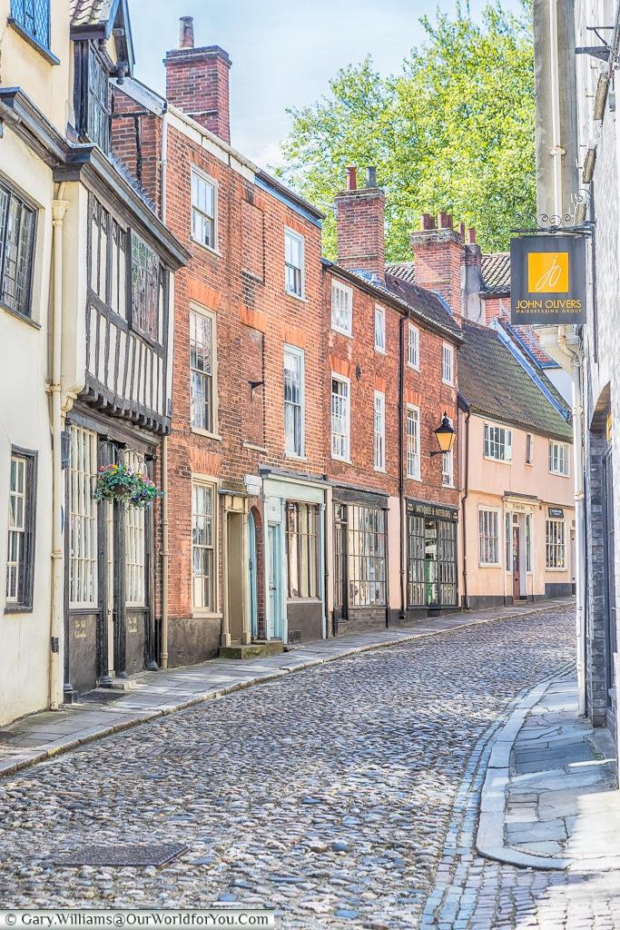 Quaint Elm Hill, Norwich, Norfolk, England