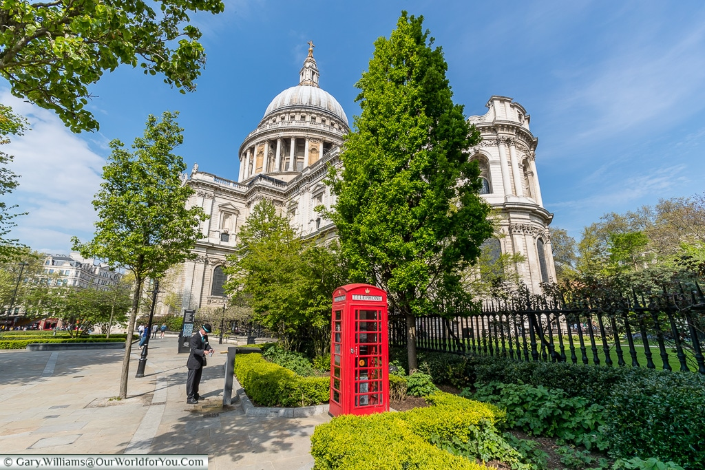 St Pauls and the telephone booth, City of London, London, England, UK