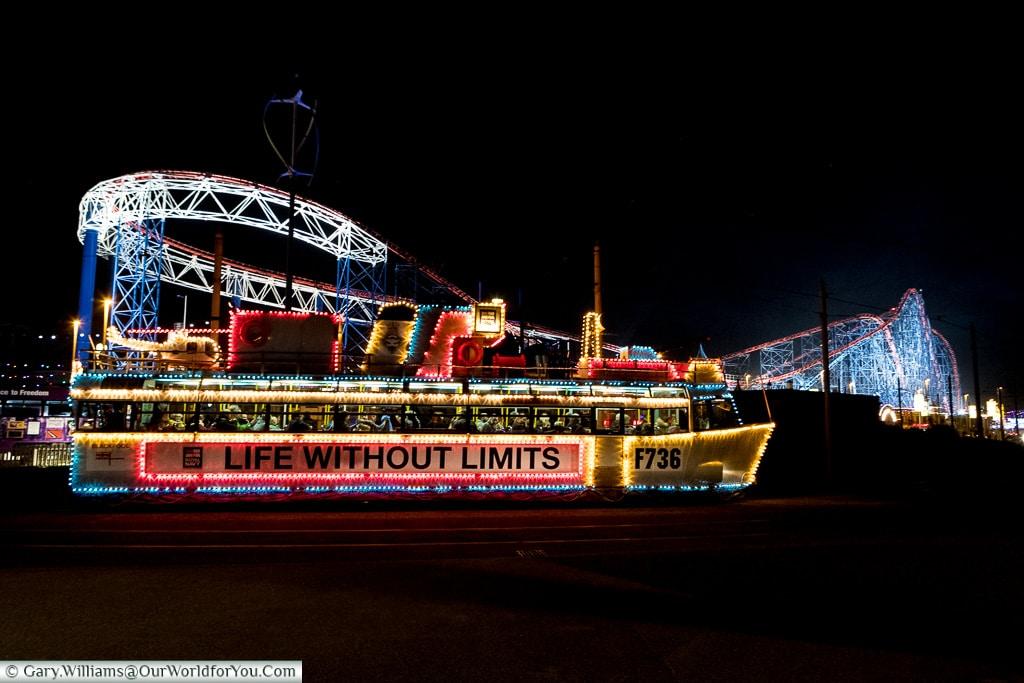 The Frigate at the Pleasure Beach, Blackpool Illuminations, Lancashire, England, UK