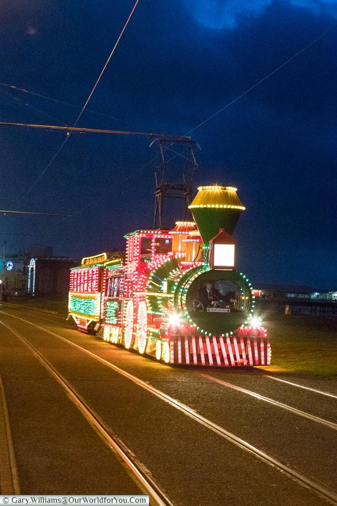 The illuminated Train, Blackpool Illuminations, Lancashire, England, UK
