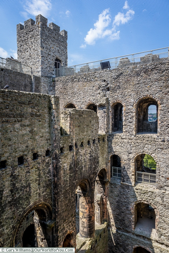 Climbing to the top, Rochester Castle, Rochester, Kent, England, UK