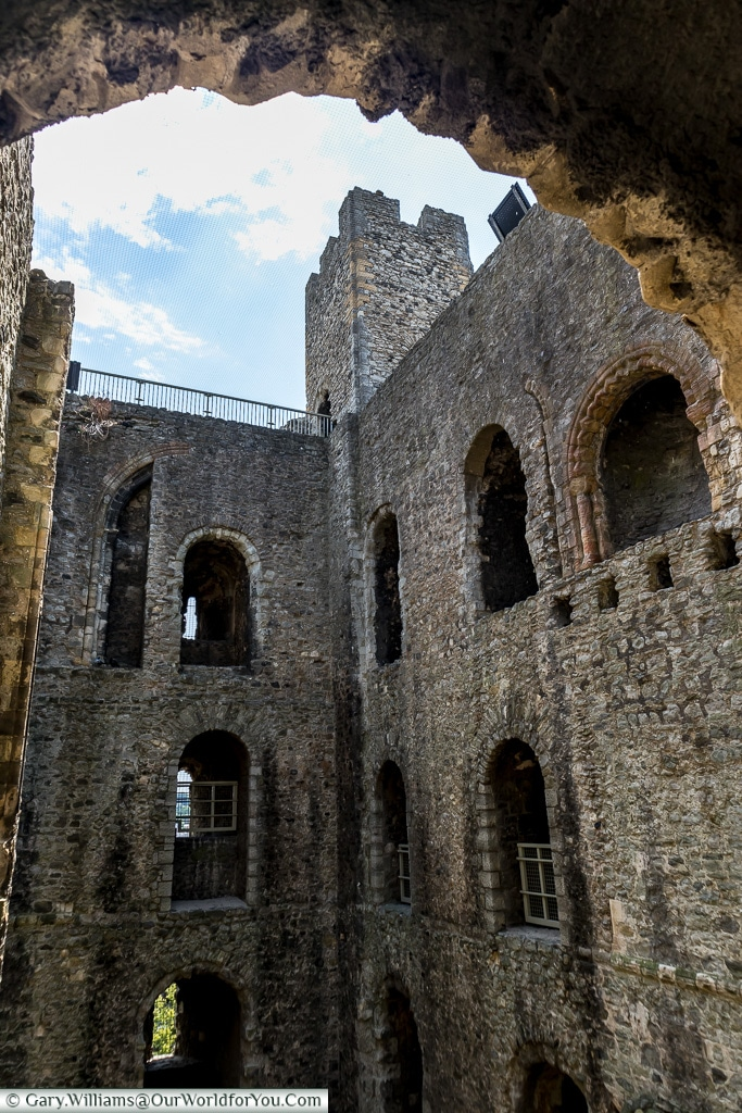 Looking up to a square corner, Rochester Castle, Rochester, Kent, England, UK