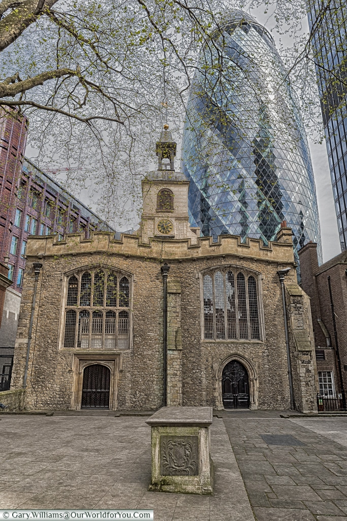 The Church of St Helens and the Gherkin, City of London, London, England, UK