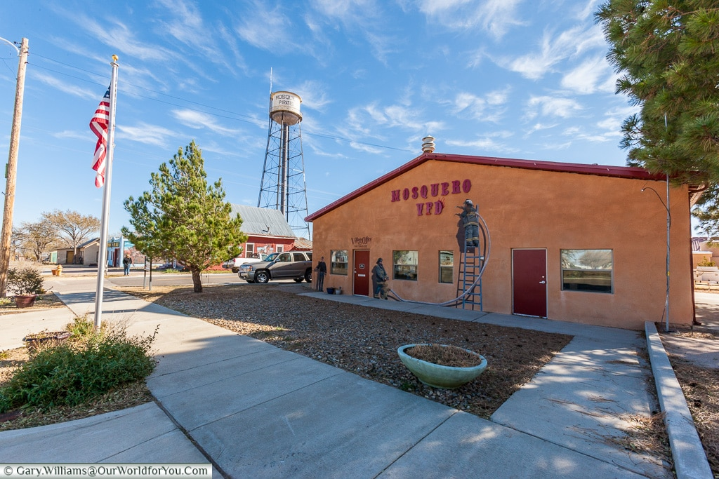 The fire station at Mosquero, New Mexico, America, USA