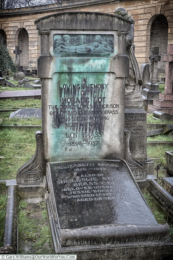 An Art Deco headstone, Brompton Cemetery, London, England, UK