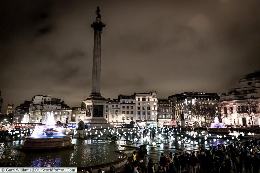 Trafalgar Square, Lumiere London, London, England, UK
