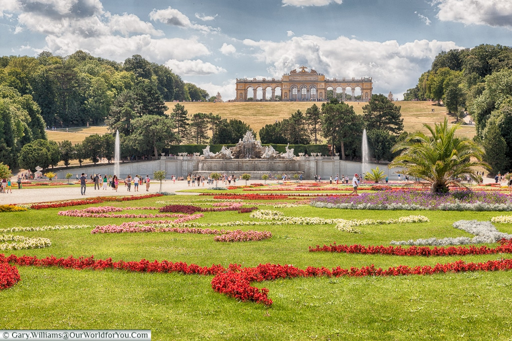 The Schönbrunn  gardens with the Gloriette on the hill, Vienna, Austria