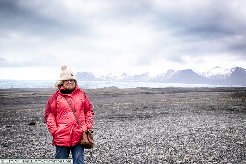 Janis getting closer to the glacier, Iceland