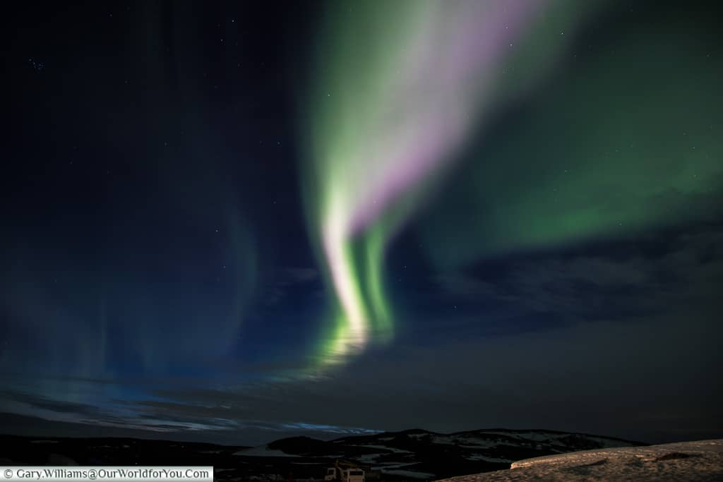 Northern Lights trailing across the sky at Reykjahlíð, Eastern Iceland