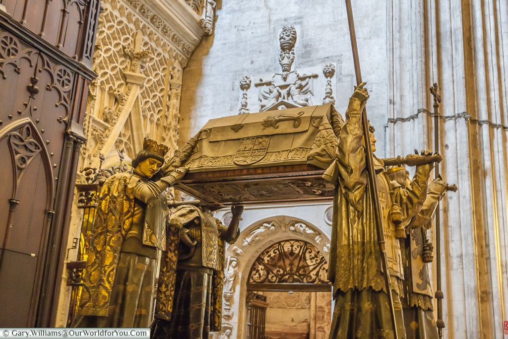 The tomb of Christopher Columbus from the side, Seville Cathedral, Seville, Spain