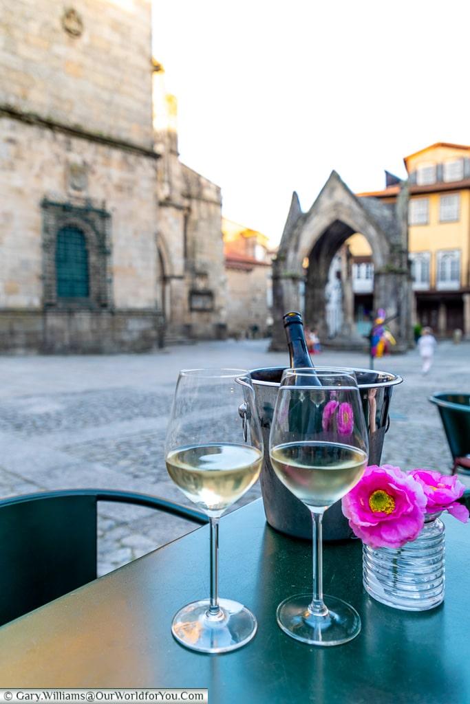 Drinking Vinho Verde in Guimarães, Portugal