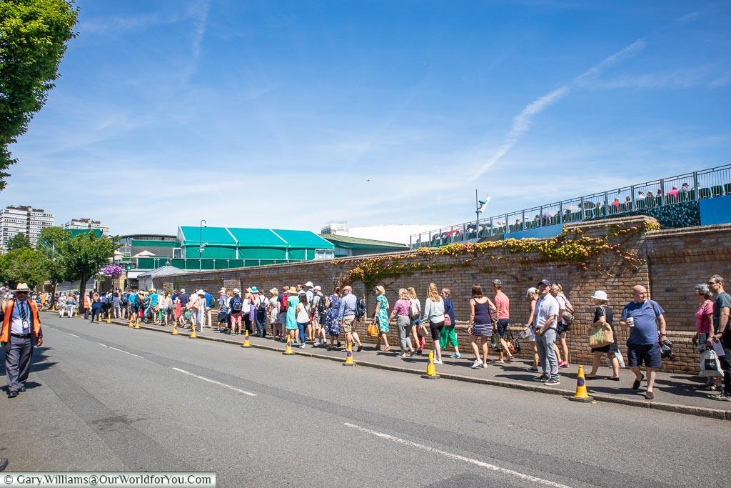Queueing for Wimbledon Tennis, England, UK