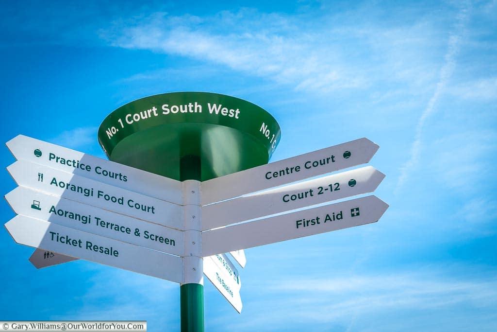 Sign at Wimbledon Tennis, England, UK