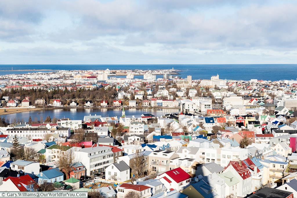 The view of Reykjavik from the top of Hallgrímskirkja, Iceland