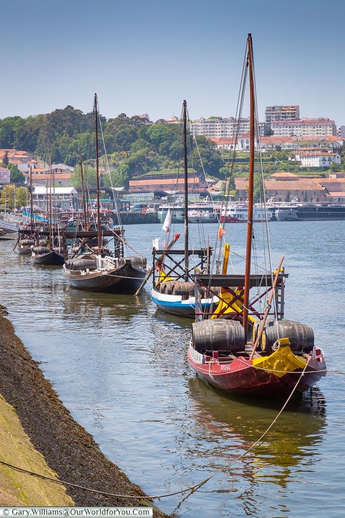 Rabelo boats moored up, Porto, Portugal