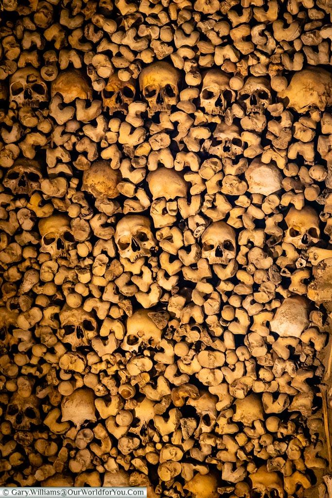Skulls in the chapel of bones, Évora, Portugal