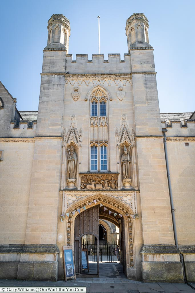 The entrance of Merton College, Oxford, England, UK