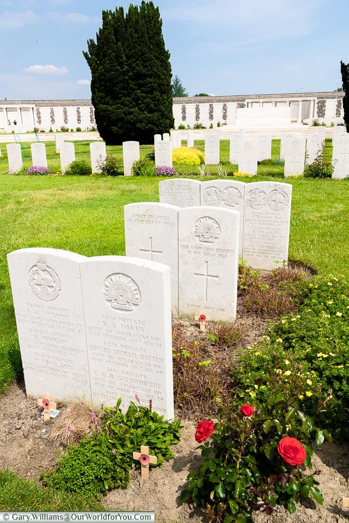 Buried together, Tyne Cot, Passchendaele, Belgium