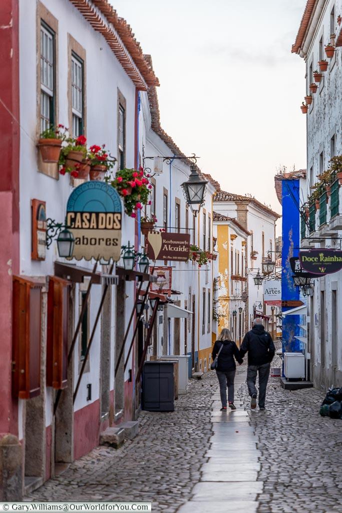 Evening along the Rua Direita, Óbidos, Portugal