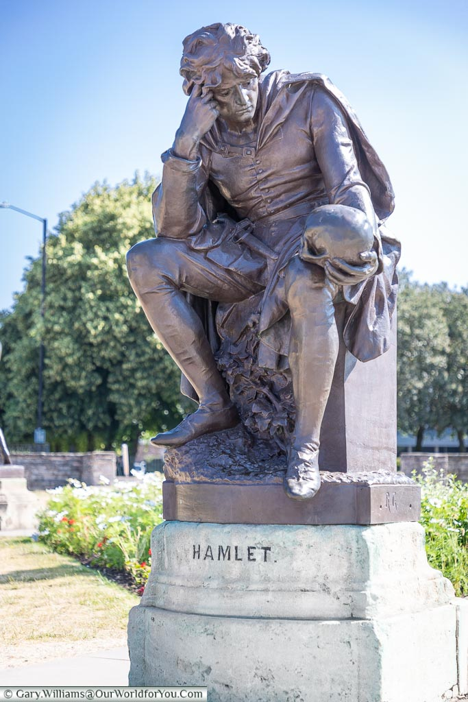 The statue to Hamlet, Stratford-upon-Avon, Warwickshire, England, UK