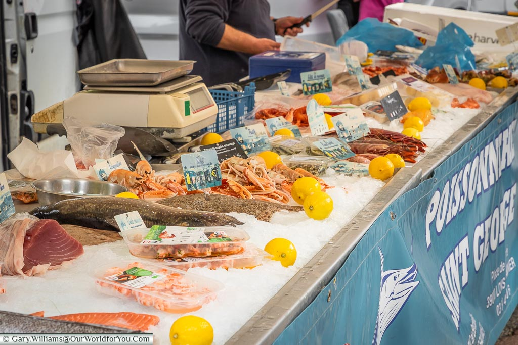 A fish stall on the market, Arbois, France