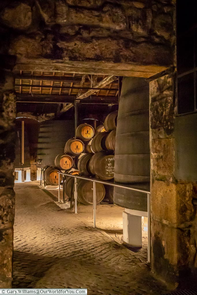 Into the Sandeman cellars, Porto, Portugal
