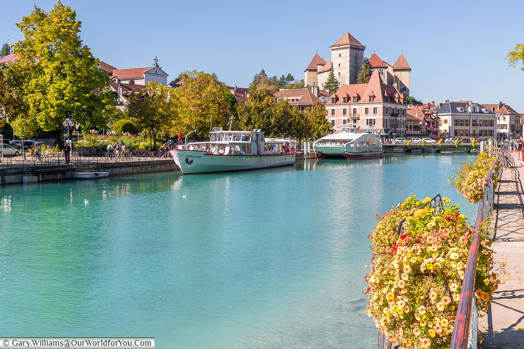 Looking back on the Chateaux d'Annecy from the Quai Napoleon III, France