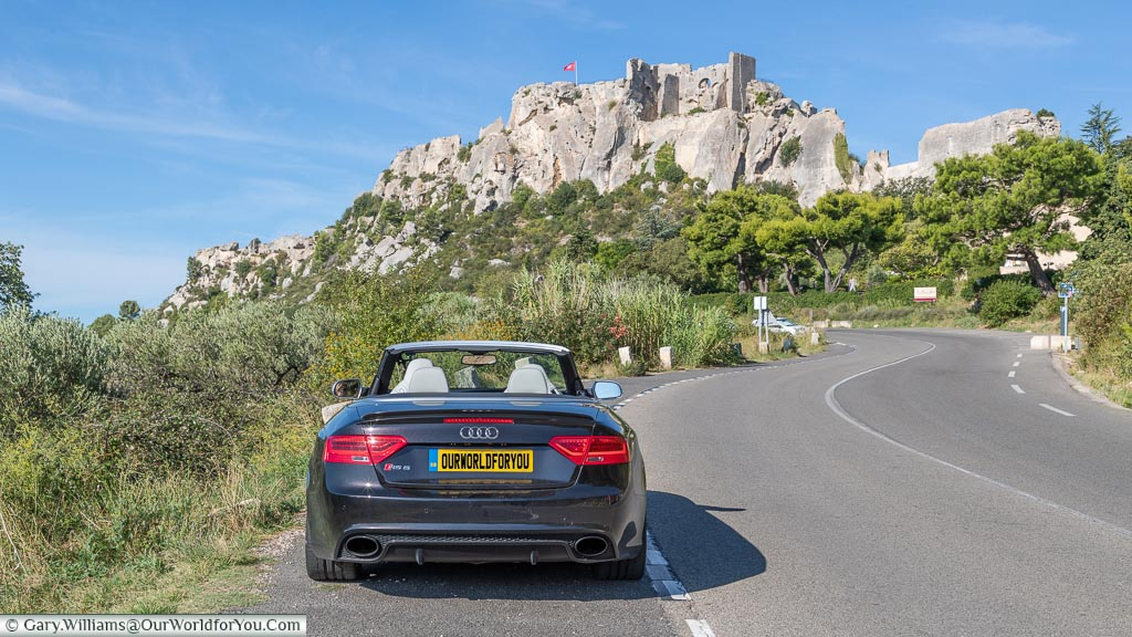 The Audi RS5 on the approach to Les Baux-de-Provence, France
