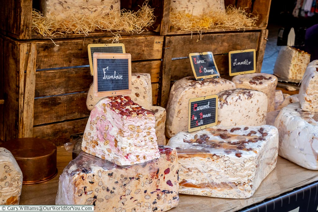 Nougat on the market stall, Annecy, France