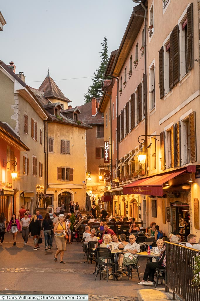 Rue Perriere in the evening, Annecy, France