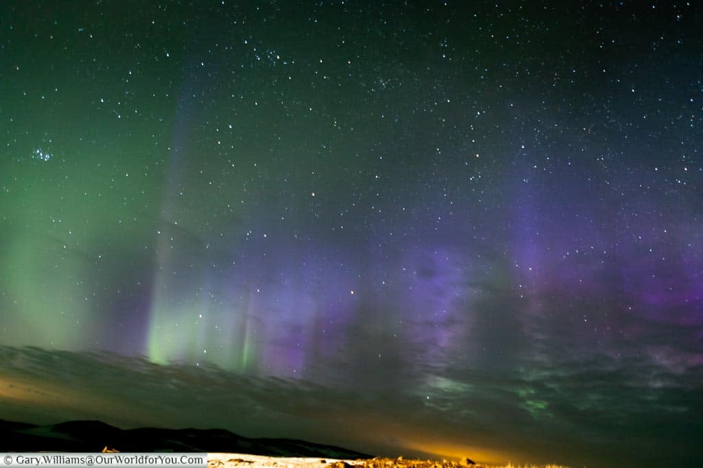 The Northern Lights not visible to the human eye at Reykjahlíð, Eastern Iceland