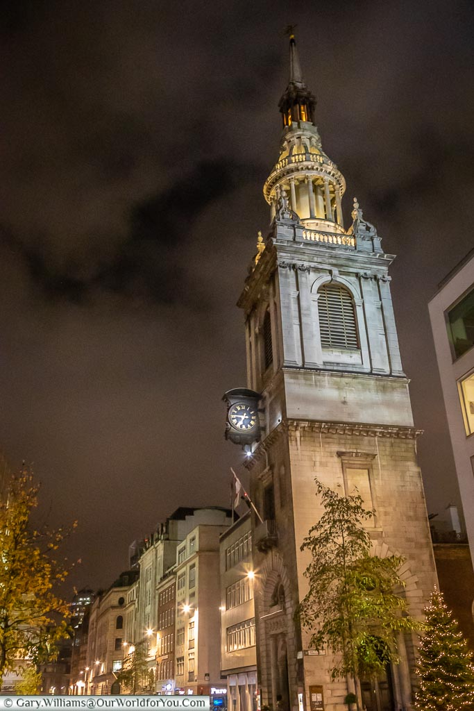 St Mary-le-Bow, London at Christmas, UK