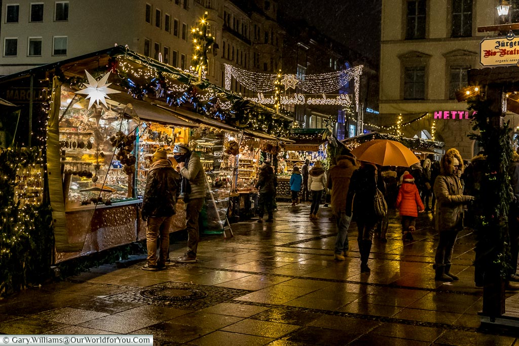 Stalls in Kripperlmarkt, Munich, Germany